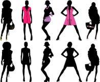 Filles de mode de silhouette Photographie stock libre de droits