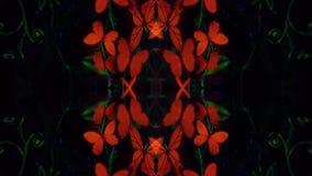 Filles de motage de kaléidoscope dans l'art de corps lumineux sous forme de papillons banque de vidéos