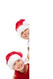 Filles de Noël avec la plaquette blanc Photo libre de droits