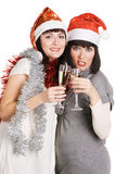 Filles de Noël avec le champagne Image libre de droits