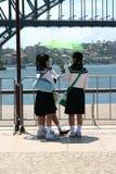 Filles de parapluie Photographie stock libre de droits