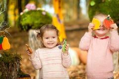 Filles de sourire en parc d'automne Photos libres de droits