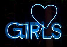 Filles en néon bleu Photo libre de droits