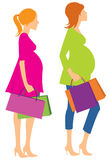 Filles enceintes de marche Photos libres de droits