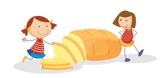 Filles et pain illustration stock