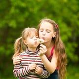 5 filles an et 11 an soufflant le pissenlit Photos stock