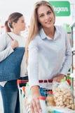 Filles faisant des emplettes au supermarché Photographie stock libre de droits