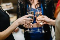 Filles gaies faisant tinter des verres de champagne à la partie Images stock