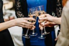 Filles gaies faisant tinter des verres de champagne à la partie Photographie stock libre de droits