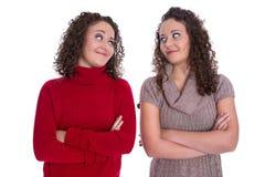 Filles heureuses : Portrait de vrais jumeaux féminins portant le pullov d'hiver Images stock