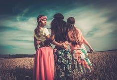 Filles hippies multi-ethniques dans un domaine de blé Image libre de droits