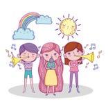 Filles jouant la trompette et chantant avec le soleil et l'arc-en-ciel illustration de vecteur