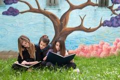 Filles lisant un livre en parc Photo stock