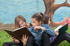 Filles lisant un livre en parc Image libre de droits