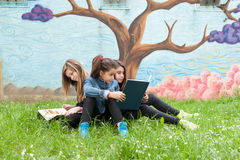Filles lisant un livre en parc Images libres de droits