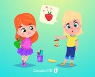 Filles mignonnes avec des pommes De nouveau à l'illustration d'école illustration libre de droits