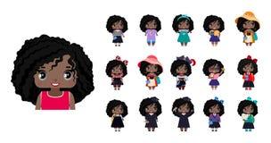 Filles mignonnes d'Afro-américain de vecteur petites illustration stock