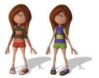 Filles mignonnes du dessin animé 3D Images libres de droits