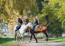 Filles montant un cheval Image libre de droits
