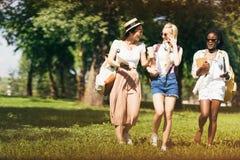 Filles multi-ethniques attirantes dans des lunettes de soleil tenant des manuels tout en marchant en parc Photos stock