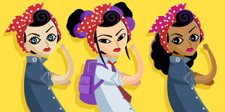 Filles multiculturelles féministes asiatiques et africaines caucasiennes Image stock