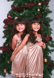 Filles par l'arbre de Noël Image stock