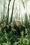 Filles parlant dans la forêt photo stock