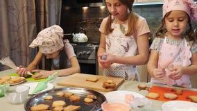 Filles préparant à décorer les biscuits banque de vidéos