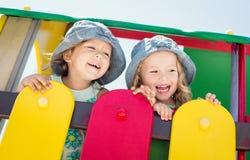 Filles riantes d'enfant en bas âge Photographie stock