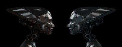 Filles robotiques en acier élégantes Photographie stock libre de droits