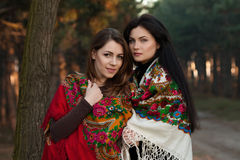 Filles russes de village dans les foulards dans la forêt Photographie stock