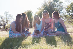 Filles s'asseyant ensemble dans le domaine herbeux avec la lumière du soleil au-dessus Photo stock