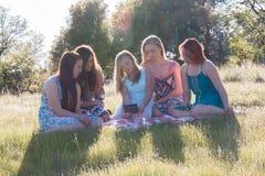 Filles s'asseyant ensemble dans le domaine herbeux avec la lumière du soleil au-dessus Photographie stock