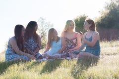 Filles s'asseyant ensemble dans le domaine herbeux avec la lumière du soleil au-dessus Images stock