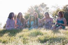Filles s'asseyant ensemble dans le domaine herbeux chantant et jouant la musique Images stock