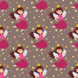 Filles sans couture d'ange de beauté d'imagination de fond de modèle de caractères adorables féeriques de princesse avec le vecte Image stock