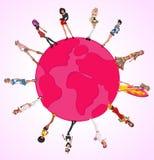 Filles sexy de dessin animé au-dessus de globe de la terre Photographie stock