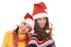 Filles sur Christmass Photo libre de droits