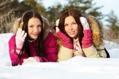 Filles sur la neige Images libres de droits
