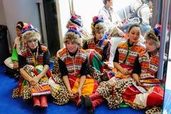 Filles tibétaines dans l'intervalle, 2013 WCIF Image stock