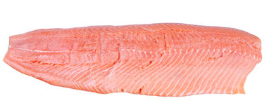 Fillet of an Atlantic salmon. Isolated on white Stock Images