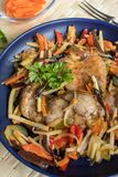 Fillet of chicken with vegetables. royalty free stock photos