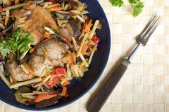 Fillet of chicken with vegetables. stock images