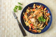 Fillet of chicken with vegetables. stock photo