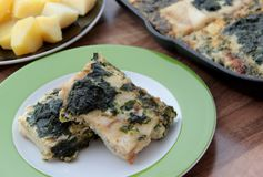 Fillet of codfish baked with spinach and beaten eggs. Fillet of codfish baked with spinach and beaten eegs. Served with potatoes Stock Images