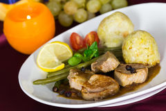 Fillet with Dumplings, green Beans Stock Images