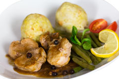 Fillet with Dumplings, green Beans Royalty Free Stock Photos
