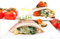 Fillet of Fish. Gilt-head bream filet on potato with chard royalty free stock image