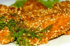Fillet of Fish and Salad. Fried fish in batter with sesame seeds Royalty Free Stock Photos