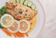 Fillet of fish and side salad Stock Image